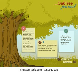 Oak Tree Journal - Big tree with lush crown, strong roots and paper notes with plenty of copy space