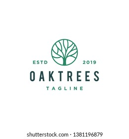 oak tree line logo design