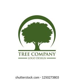 Oak tree logo illustration. Vector silhouette of a tree