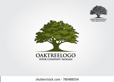 Oak tree logo illustration. Vector silhouette of a tree.