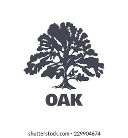 Oak Tree Logo Silhouette isolated. Vector illustration