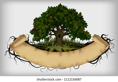 Oak tree with roots and old parchment banner. Vintage artistic cover and poster design. Vector illustration