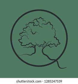 Oak tree vector icon in a circle with a root. Symbol of nature, strength and longevity. It is suitable for use as a pictogram and logo.