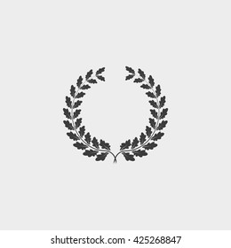 Oak  wreath icon in a flat design in black color. Vector illustration eps10