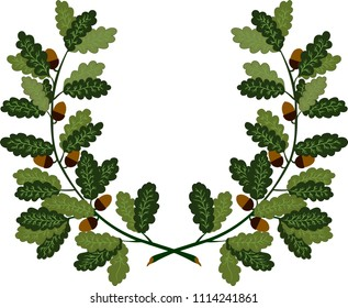 Oak wreath - symbol of victory and achievement. Design element for construction of medals, awards, coat of arms or anniversary logo. Vector illustration