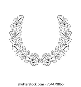 Oak wreath. Vector illustration of oak branches in a round frame made in the style of engraving.