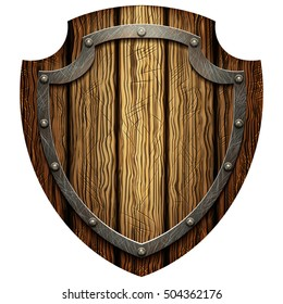 Oaken shield of the warrior with the metal studs on a blank background