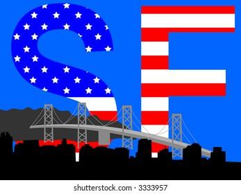 Oakland Bridge and San Francisco skyline with American flag