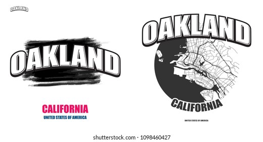 Oakland, California, logo design. Two in one vector arts. Big logo with vintage letters with nice colored background and one-color-version with map for every possible print production.