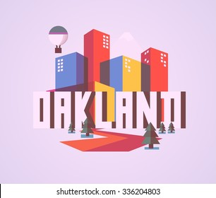 Oakland destination brand logo. vector cartoon