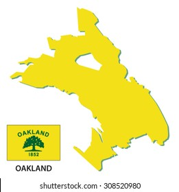 oakland map with flag