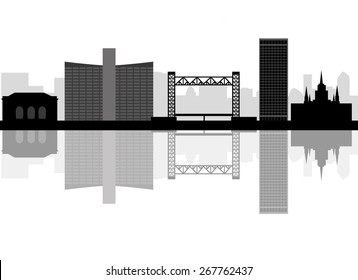 Oakland skyline linear style with in editable vector file