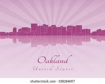 Oakland skyline in radiant orchid in editable vector file