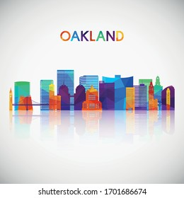 Oakland skyline silhouette in colorful geometric style. Symbol for your design. Vector illustration.