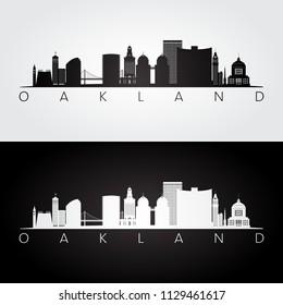 Oakland, USA skyline and landmarks silhouette, black and white design, vector illustration.