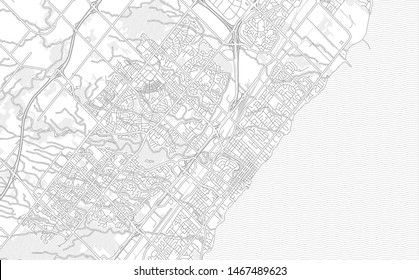 Oakville, Ontario, Canada, bright outlined vector map with bigger and minor roads and steets created for infographic backgrounds.