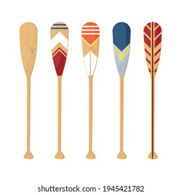 Oars set isolated on a white background. Painted canoe paddles in flat style, vector illustration.