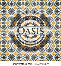 Oasis arabesque style badge. arabic decoration.