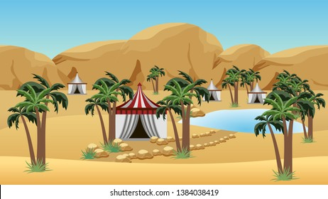 Oasis in desert with Bedouin camp. Landscape for cartoon or game background. Desert, sand dunes, lake, palms and Bedouin tents. Vector illustration