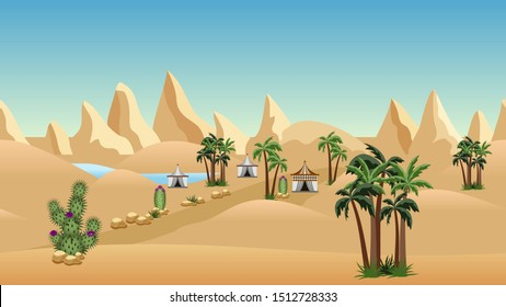 Oasis in desert with Bedouin camp. Landscape for cartoon or game background design. Desert, sand dunes, lake, palms, cactuses, mountains and nomad tents. Vector illustration