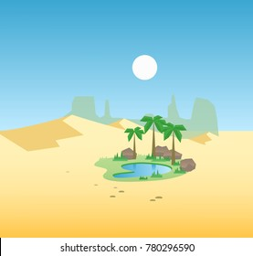 Oasis in the desert dunes. Flat design, vector illustration.