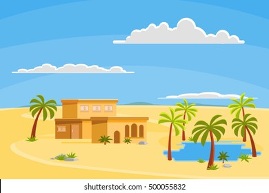Oasis in the desert dunes, vector illustration
