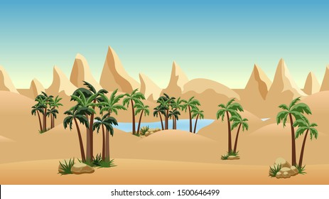 Oasis in desert landscape background for cartoon or adventure game asset or scene design. Sand dunes, palms,blue lake and mountainss. Horizontally seamless. Vector illustration