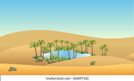 Oasis in desert - landscape background. Vector illustration with sand dunes, blue lake and palms