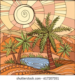 Oasis in the desert sand. Palm trees and a lake. Illustration can be used for cover, card, background for poster