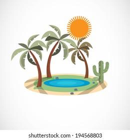 Oasis in the desert  - vector illustration