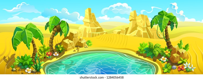 Oasis with a lake and palm trees in the desert. Sand dunes around a small lake. Vector illustration