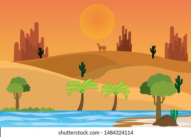 The oasis is a moist area in the desert. It is useful to travelers as a place to provide water.