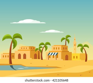 Oasis With The Town In Desert Flat Bright Color Simplified Vector Illustration In Realistic Cartoon Style Design