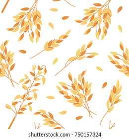 Oat branches seamless pattern - vector illustration