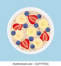 Haferflocken in einer Schüssel mit Banane, Heidelbeeren und Erdbeeren, Draufsicht. Gesundes natürliches Frühstück. Haferanteil mit Früchten in einer Schüssel einzeln auf Hintergrund. Vektorgrafik, handgezeichnet.