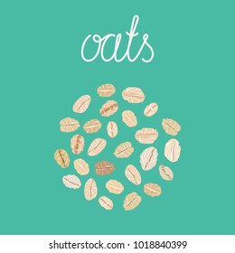 Oat flakes. Healthy natural breakfast. Portion of oats. Vector hand drawn illustration.