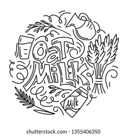 Oat milk hand drawn lettering. Spikes and grains of oats, glass with oat milk, carton box and glass jar of milk. Doodle style, linear, black and white, vector illustration.