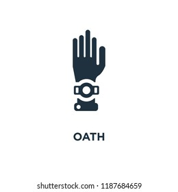Oath icon. Black filled vector illustration. Oath symbol on white background. Can be used in web and mobile.