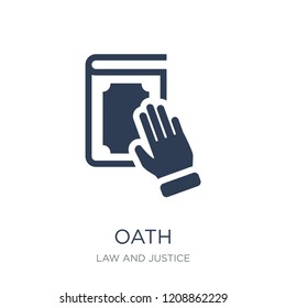 Oath icon. Trendy flat vector Oath icon on white background from law and justice collection, vector illustration can be use for web and mobile, eps10