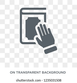 Oath icon. Trendy flat vector Oath icon on transparent background from law and justice collection.