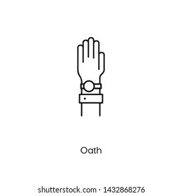 oath icon vector. oath symbol. Linear style sign for mobile concept and web design. oath symbol illustration. Pixel vector graphics - Vector.