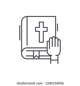 Oath line icon concept. Oath vector linear illustration, symbol, sign