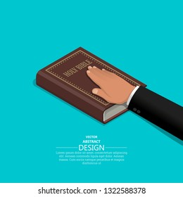 Oath on the Holy Bible.The procedure in court. Truth and truth.Promise before god. Oath.3D. Isometry. Elements for design. A vector illustration in flat style.