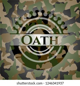 Oath written on a camo texture