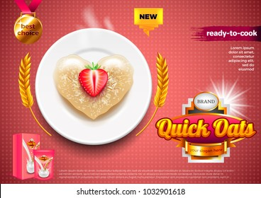 Oatmeal ads. Oats on plate with strawberry. 3d illustration and packaging