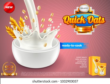 Oatmeal ads. Pouring milk and oats. 3d illustration and packaging