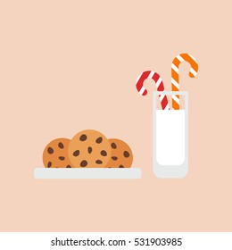 Oatmeal cookies with chocolate chips, milk and candy. Treats for Santa. Vector,flat design.