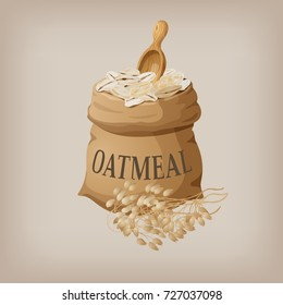 Oatmeal flakes in the bag. Vector illustration