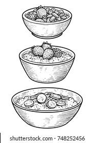 Oatmeal illustration, drawing, engraving, ink, line art, vector