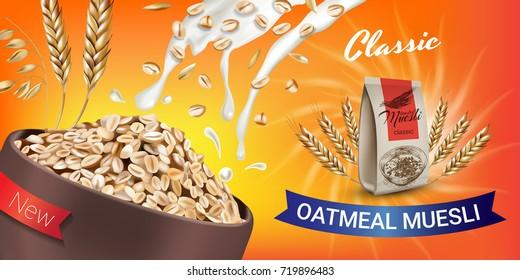 Oatmeal muesli ads. Vector realistic illustration of oatmeal muesli. Horizontal banner with product.